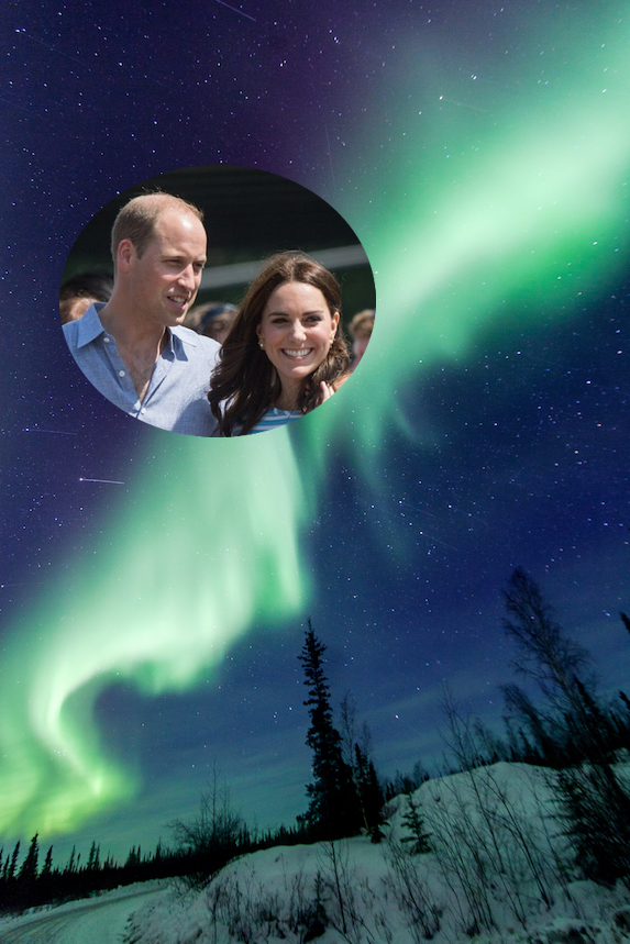 Kate Middleton and Prince William and an image of the Northern Lights in Yellowknife