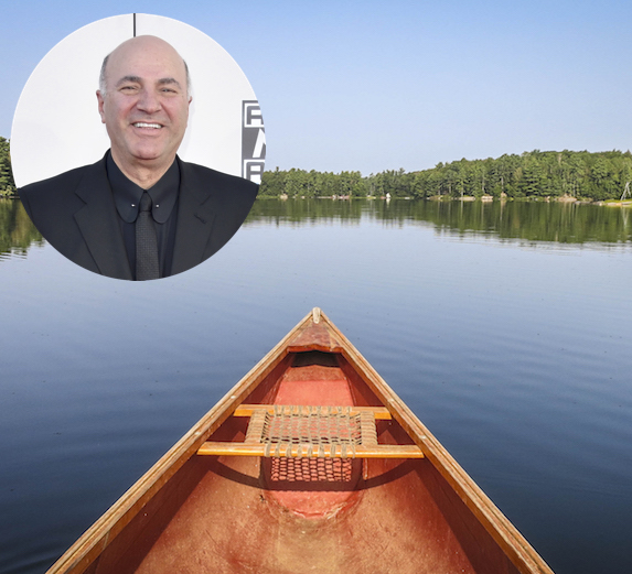 Kevin O'Leary and an image of Lake Joseph