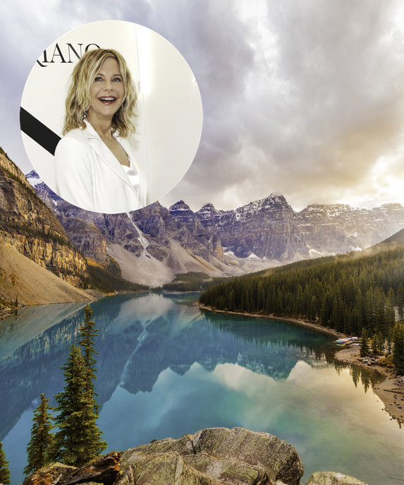 Meg Ryan and an image of the town of Banff