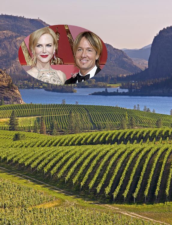 Nicole Kidman and Keith Urban and an image of Okanagan