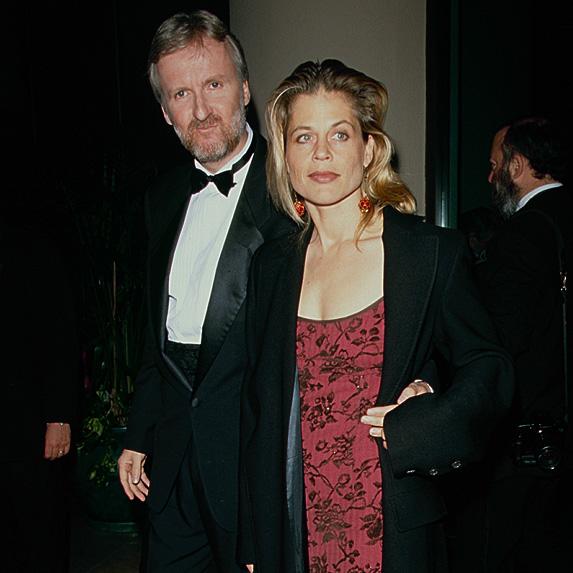 James Cameron and Linda Hamilton at party