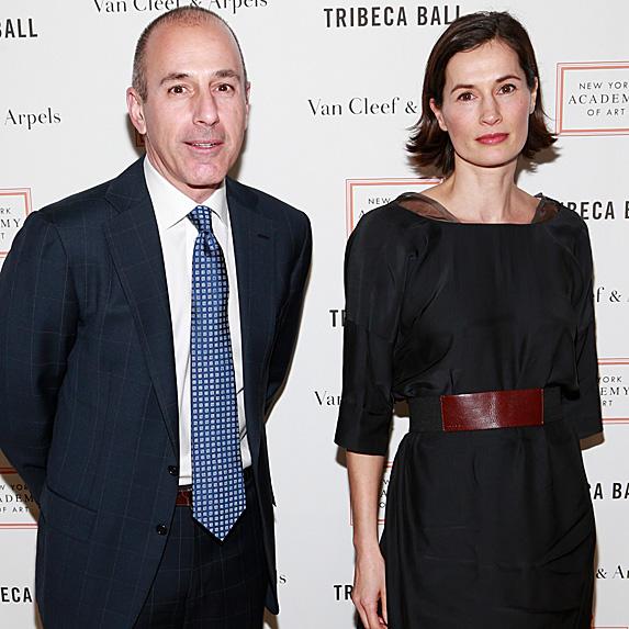 Matt Lauer and Annette Roque unhappy on red carpet