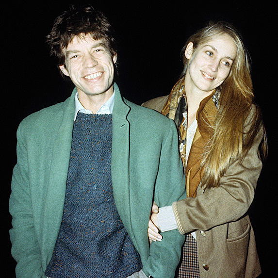Mick Jagger and Jerry Hall smiling