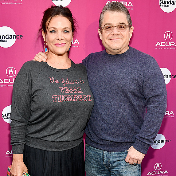 Meredith Salenger and Patton Oswalt on red carpet