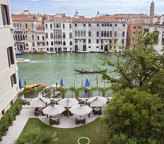 Outdoor terrace canal views at the Aman Venice