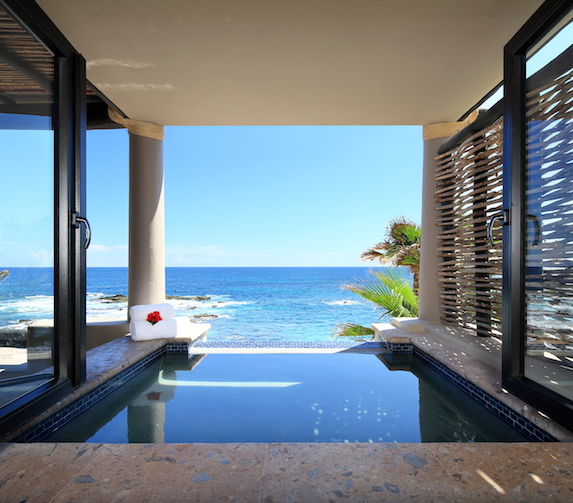 Ocean views from a hot tub on the terrace of a suite at Esperanza an Auberge Resort