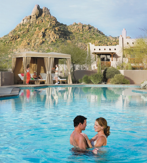 Views of the resort from the pool at The Four Seasons Scottsdale