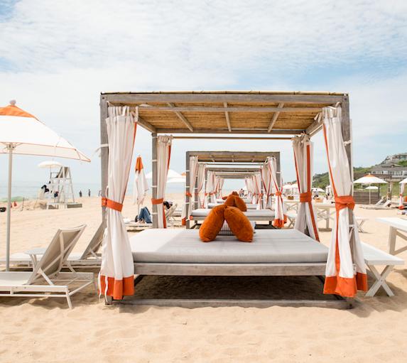 Cabana bed on the beach of Gurney's Montauk Resort