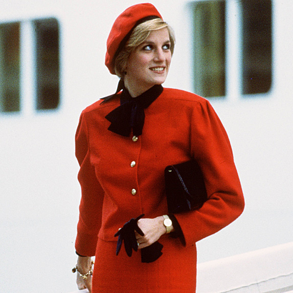 Princess Diana in red coat and matching beret