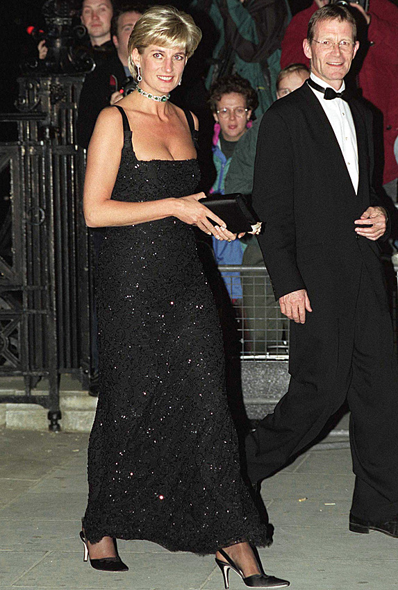 Princess Diana dressed up for an evening out