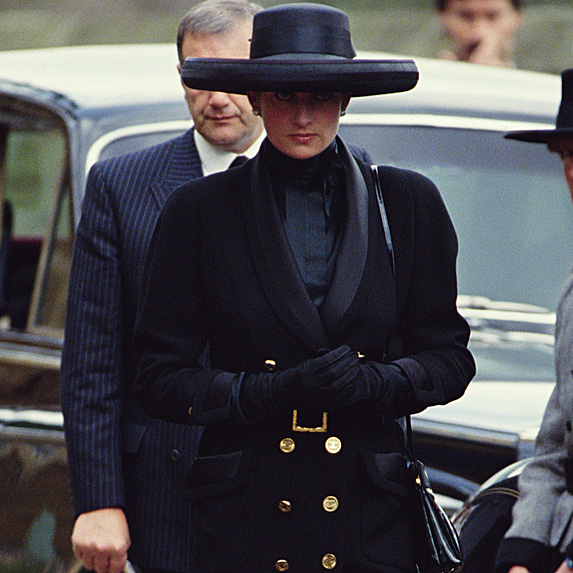 Princess Diana attending funeral