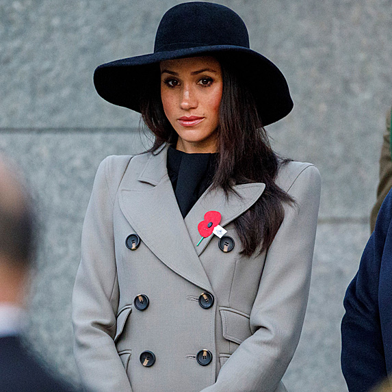Meghan looking sombre at Anzac Day service