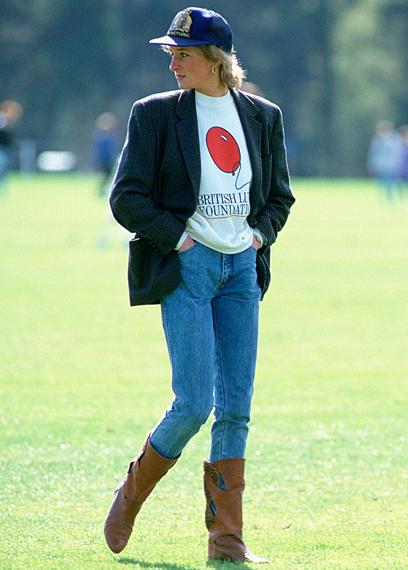 Princess Diana in polo field wearing jeans and brown boots