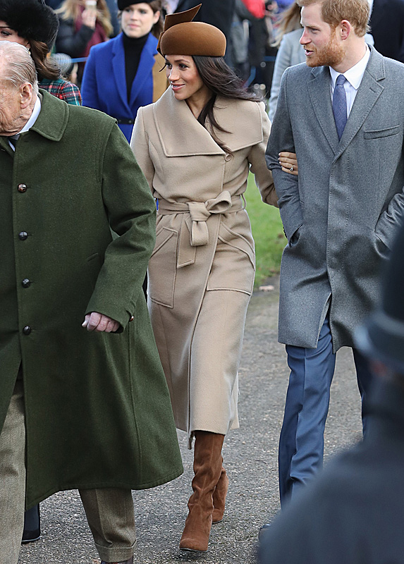 Meghan and Harry walking to Christmas Day mass