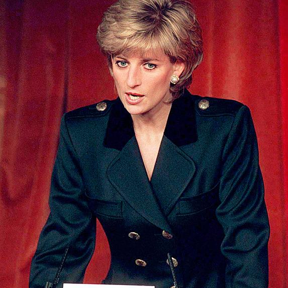 Princess Diana speaking to auditorium