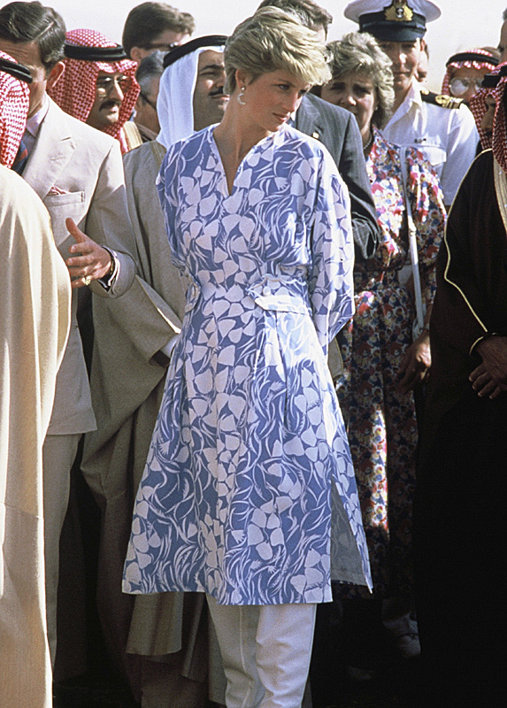 Princess Diana in blue and white tunic