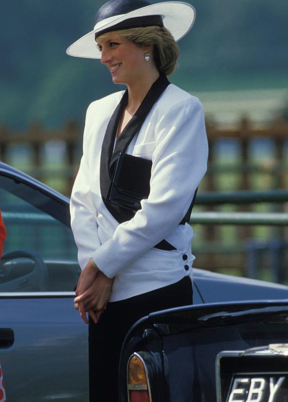 Princess Diana wearing white jacket with black trim