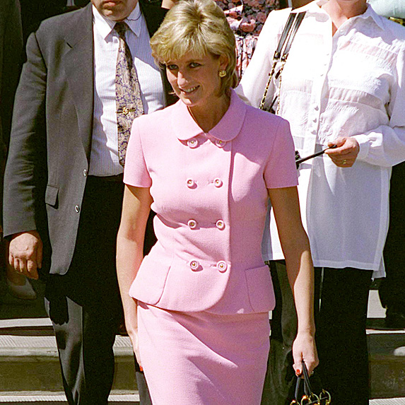 Diana at event in pink skirt suit