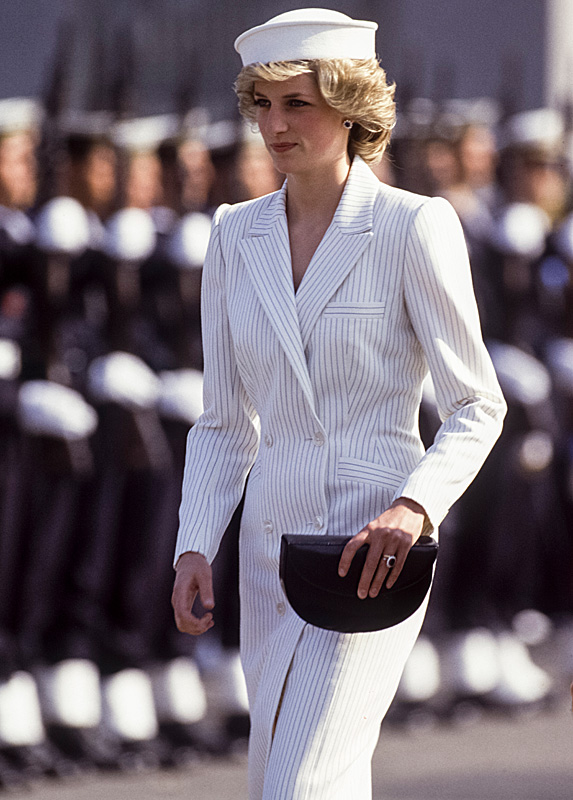 Princess Diana in white suit with black pinstriping