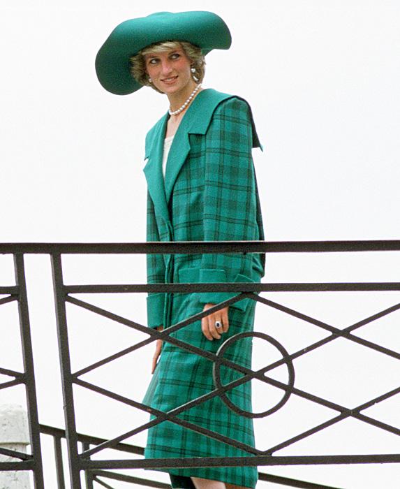 Princess Diana in green and blue tartan on bridge