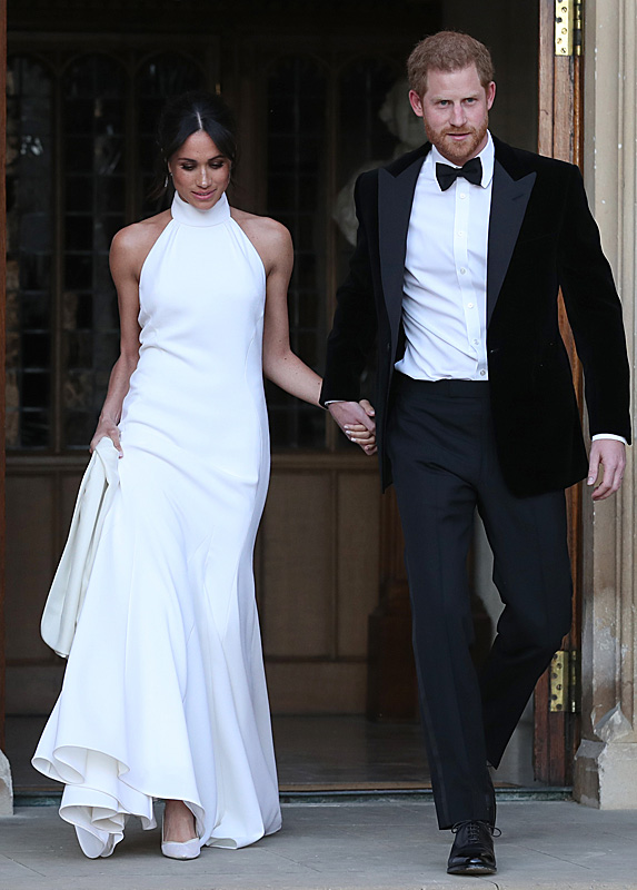 Meghan and Harry leaving for wedding reception