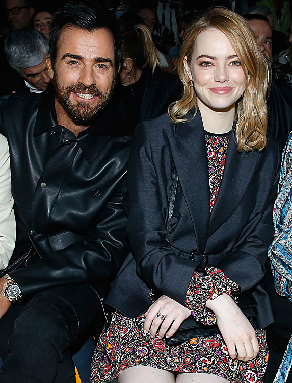 Justin Theroux and Emma Stone at fashion show