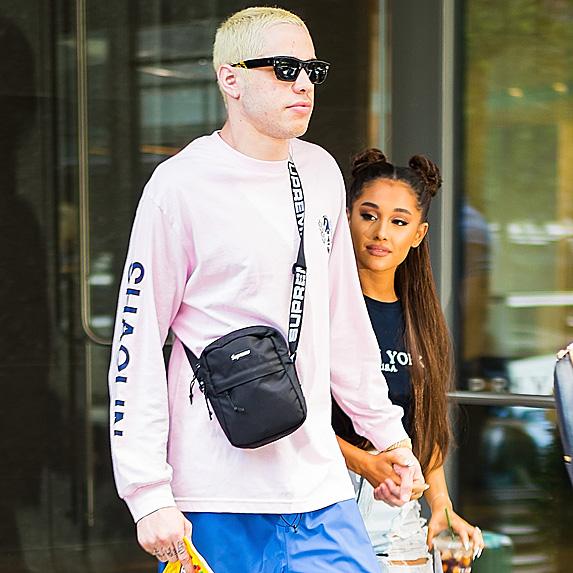 Pete Davidson and Ariana Grande leaving store