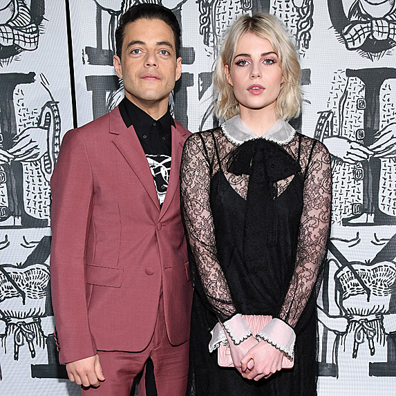 Rami Malek and Lucy Boynton at Fashion Week
