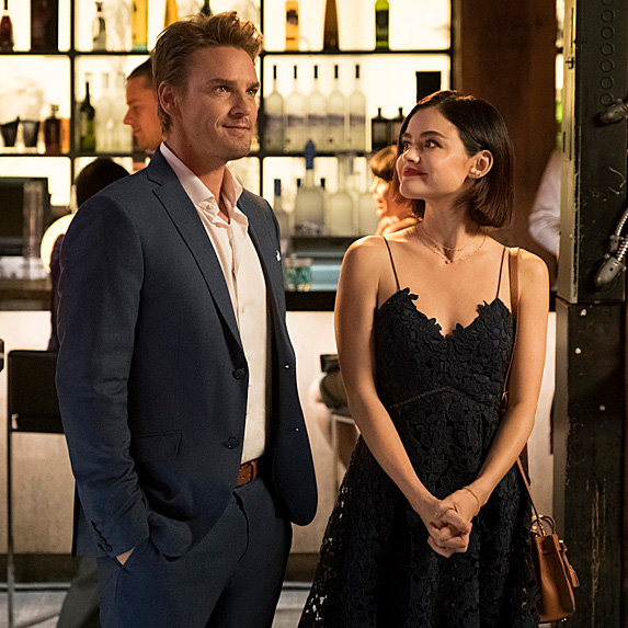 Riley Smith and Lucy Hale in scene from 'Life Sentence'