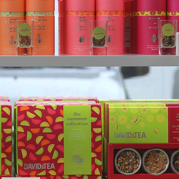 DAVIDsTEA products on a shelf