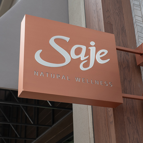 Facade with sign and logo at Saje aromatherapy and natural products retail store