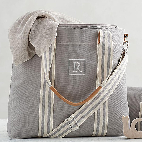 Diaper bag monogrammed with the letter R