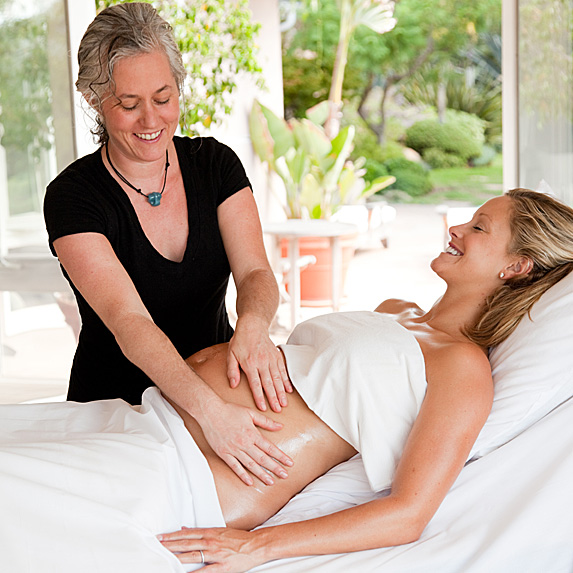 Woman getting pre-natal massage