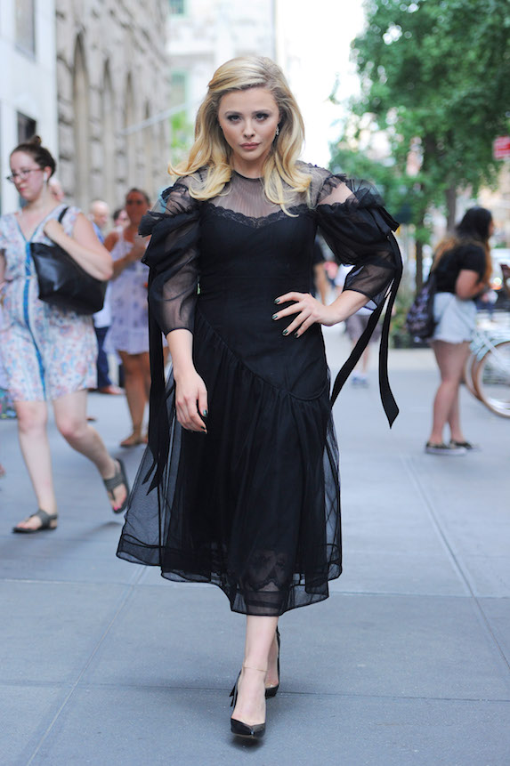 Actress Chloe Grace Moretz photographed in a black dress in New York City