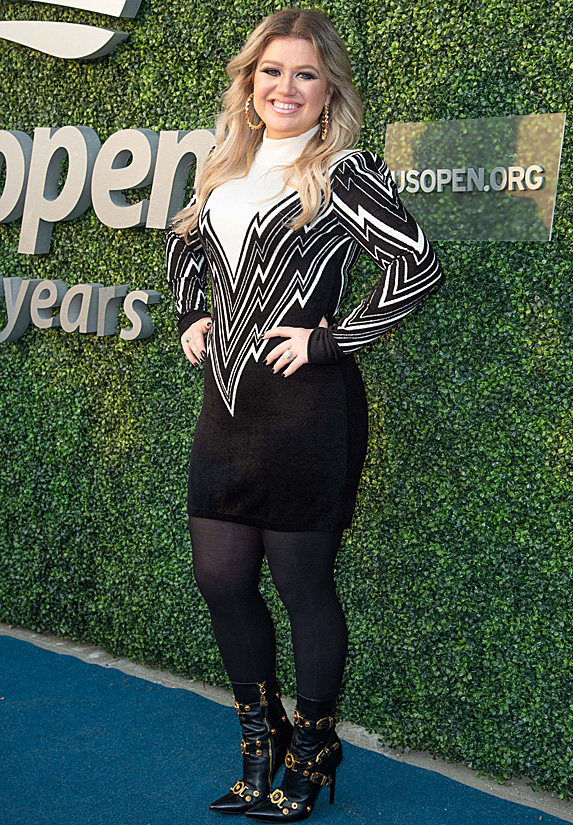 Kelly Clarkson before performing at the U.S. Open