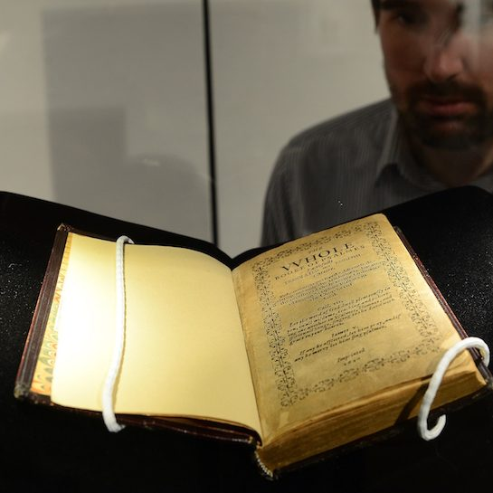 The Bay Psalm Book at auction on display