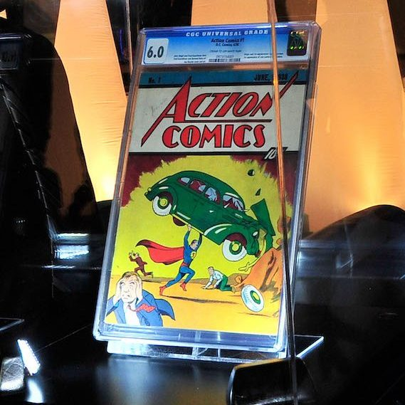 Rare comic book on display in a glass case