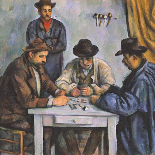 A famous painting of men playing cards by Paul Cezanne