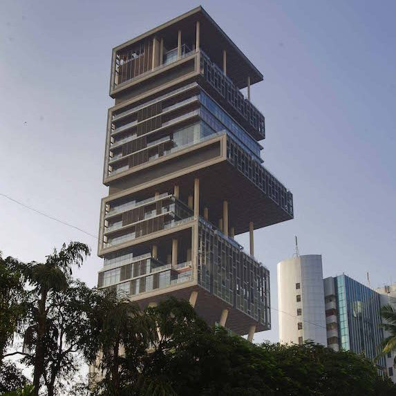 "The 27-storey skyscraper personal residence in India known as ""Antilla"""