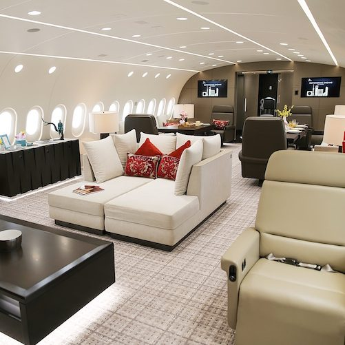 Interior views of the luxurious Dream Jet by Deer Jet