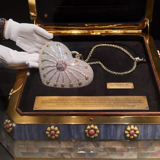 Mouawad purse on display at auction