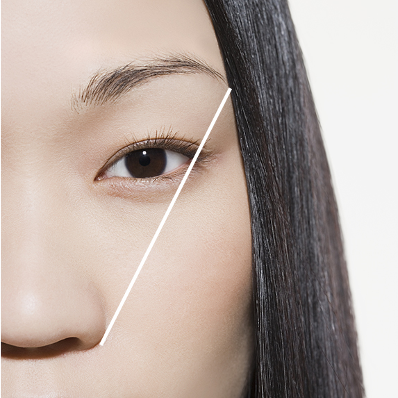measure and fill your eyebrows