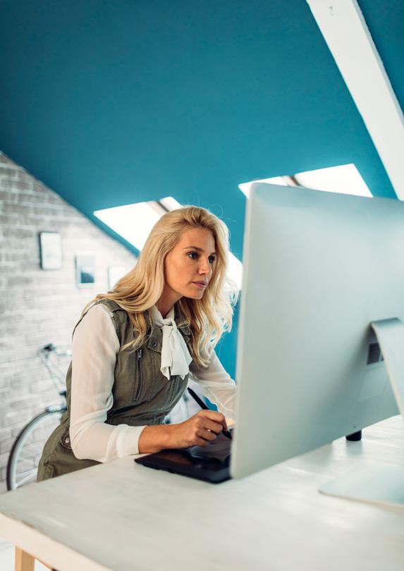 Designer working on her computer