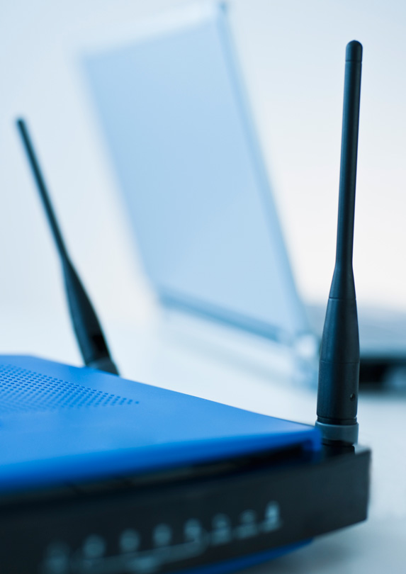 Wifi router and laptop