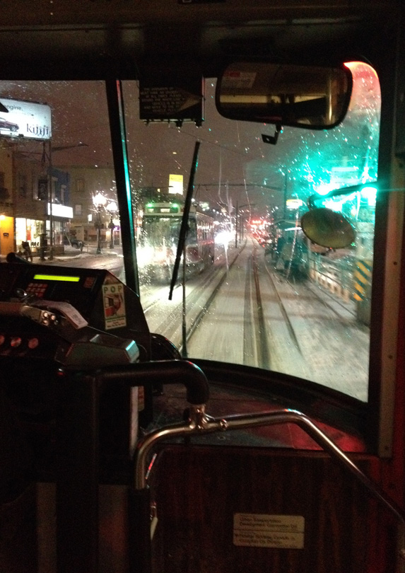 Riding a streetcar in the winter