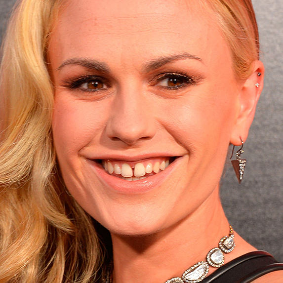 Anna Paquin smiling wide, and showing her gap-toothed smile