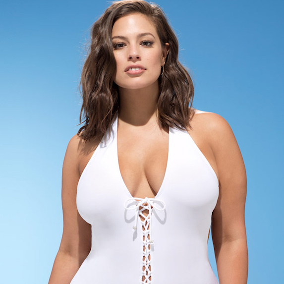 Ashley Graham posing in a swimsuit