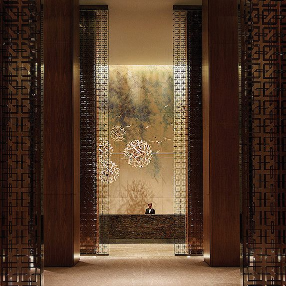 The dramatic sweeping lobby of The Four Seasons Hotel in Toronto