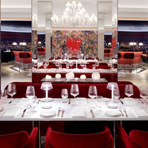 The luxurious red and white interiors of Sofia Yorkville in Toronto