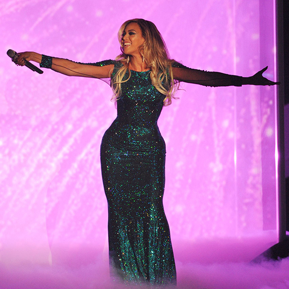 Beyonce, performing on stage